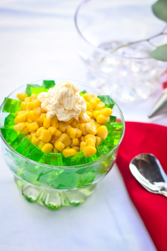 pandan jelly with corn kernels recipe